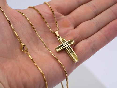 corrente colar + pingente aço ogrife j-280  banhado ouro 18k