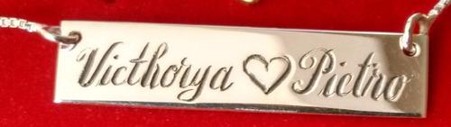 corrente colar placa com nome personalizada prata 925