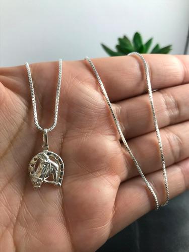 corrente colar prata maciça 925 pingente ferradura cavalo