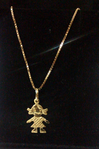 corrente colar veneziana ouro 18k + pingente menina ouro 18k