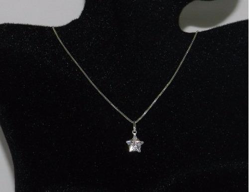 corrente com estrela zircônia, prata 925 - frete grátis