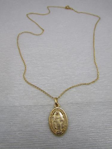 corrente com medalha nossa senhora das graças dourado