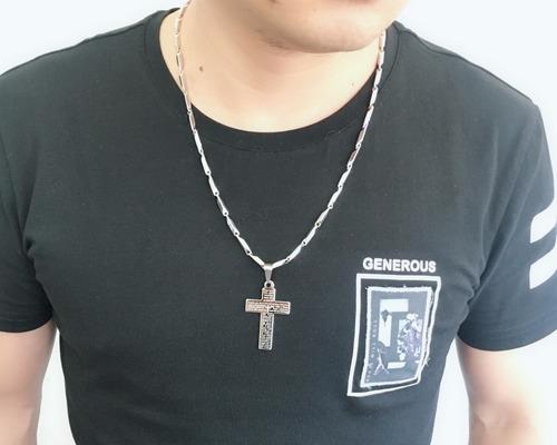 corrente com pingente crucifixo masculino aço inox prata