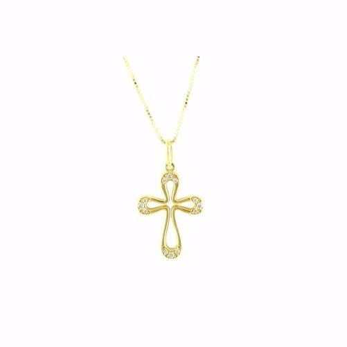 4ce2aa45ad0b9 Corrente Com Pingente Cruz Vazada Em Ouro 18k E Diamantes - R  2.290,00 em  Mercado Livre