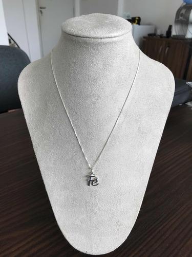 corrente com pingente fé  feminina prata 925