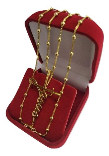 corrente com pingente folheado a ouro + caixa veludo + nf