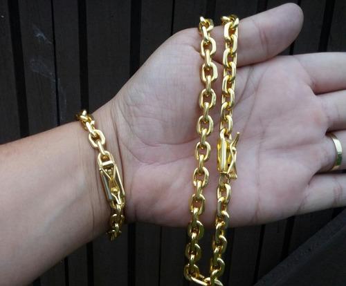 corrente cordao 8mm 60cm com pulseira banhados a ouro 18k