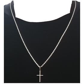 Corrente Cordão Piastrine 2 Mm ,60 Cm Com Pingente Crucifixo