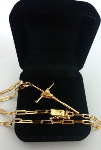 corrente cordão 3,5mm folheada a ouro 18k com cruz e estojo