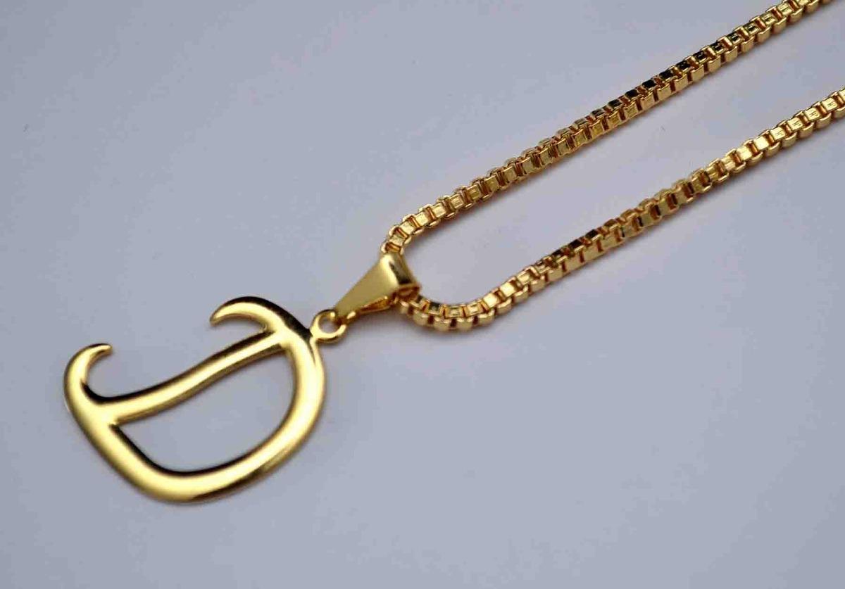 22cfa32924e60 Corrente Cordão 60cm Masculino Pingente Letra D Banhado Ouro - R ...