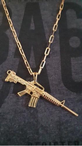 corrente cordão 70cm 4mm + pingente fuzil banhado a ouro