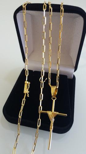 corrente cordão 70cm e cruz banhados a ouro 18k 2mm