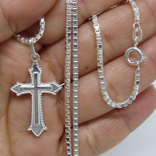 corrente cordão 70cm masculino prata 925+ pingente crucifixo