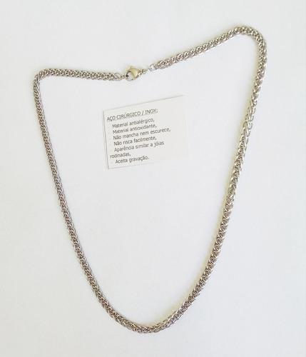 corrente cordão aço 316l cirúrgico inox 50cm