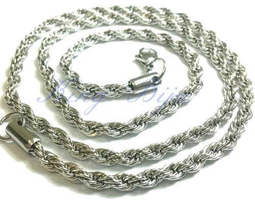 corrente cordão aço cirúrgico inox trançado masculino prata