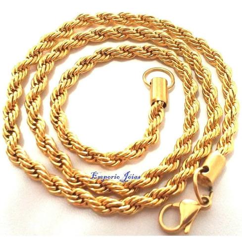 corrente cordão aço cirurgico trançado banhado a ouro ref313