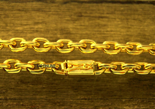 corrente cordão banhado a ouro 11mm com fecho de gaveta