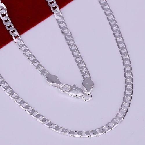corrente cordão banhado prata masculino 60cm 4mm, ref:303