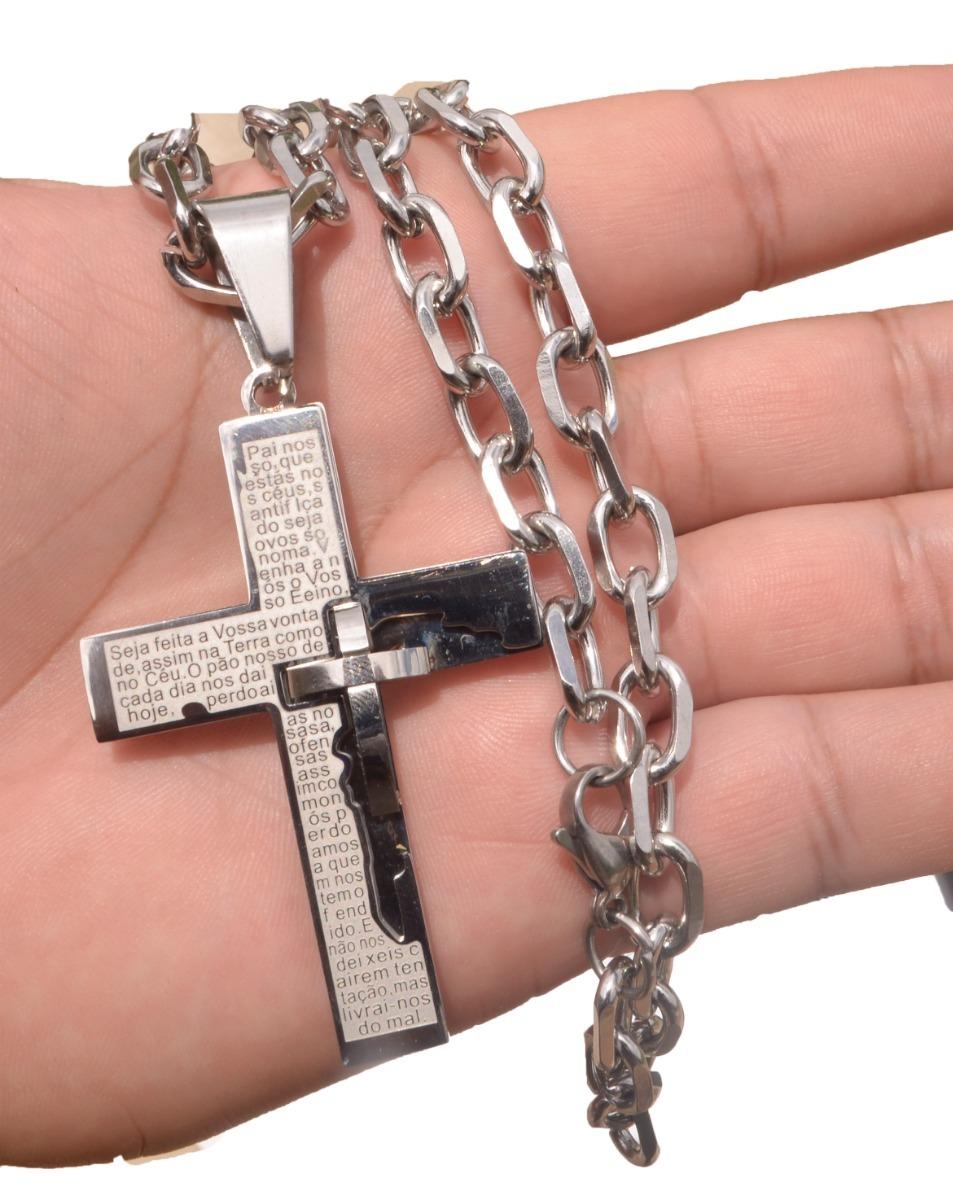 08019bc420b Corrente Cordão Cartier Aço Inox+ Pingente De Crucifixo. - R  89