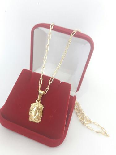 corrente cordão cartier banhado ouro 18k pingente face jesus