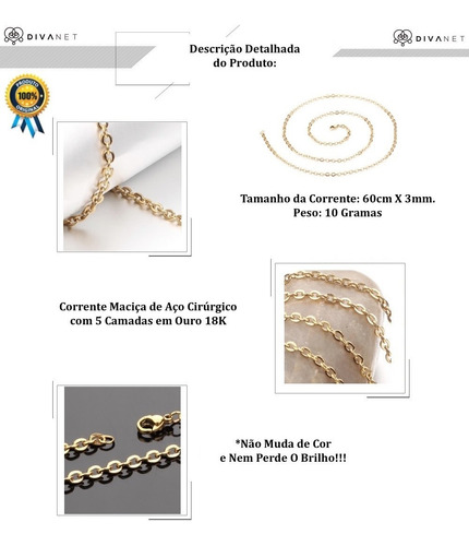 corrente cordão colar feminina banhada ouro 18k 60cm x 3mm