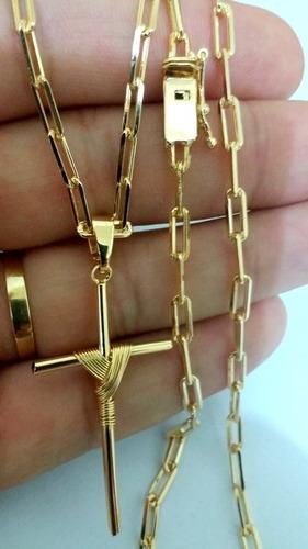 corrente cordão com pingente cruz banhados a ouro 18k 3,5mm