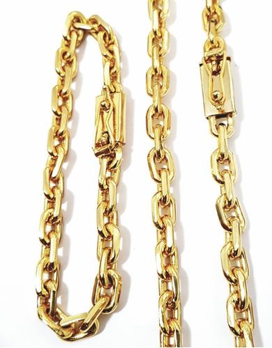 corrente cordão e pulseira masculino 70cm banhado a ouro 18k