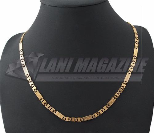corrente cordão fígaro vintage 5mm banhado a ouro 18k
