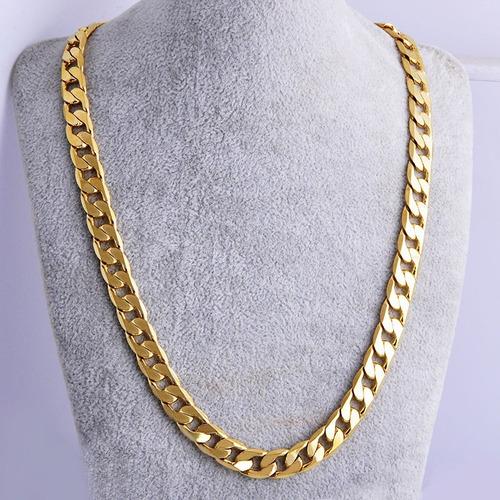 corrente cordão grumet quadrado 2 banhos ouro 18k- 51cm, 7mm
