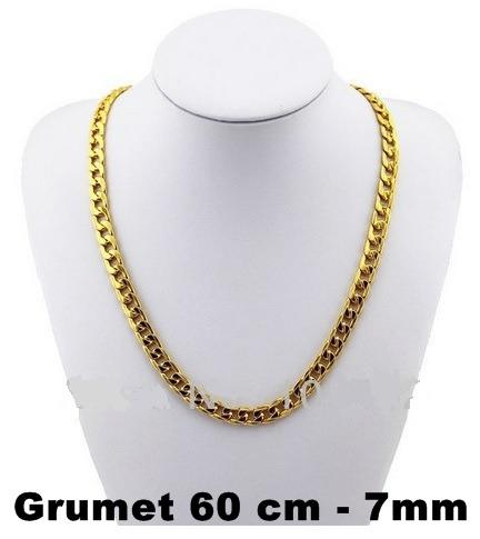 corrente cordão grumet quadrado 2 banhos ouro 18k- 60cm, 7mm