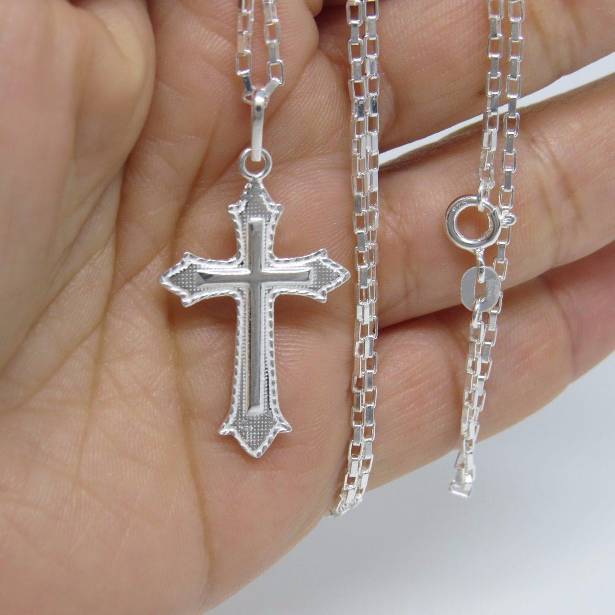 4ca9e146875 corrente cordão masculina cartier 60cm e crucifixo prata 925. Carregando  zoom.