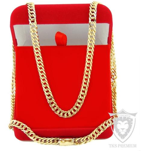 corrente cordão masculino 60cm pulseira banhada ouro tk672