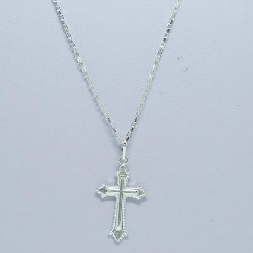 corrente cordão masculino 80cm pingente crucifixo prata 925
