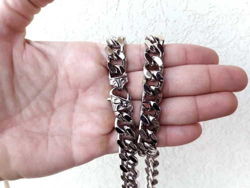 corrente cordão masculino aço inoxidável 316l grossa pesada