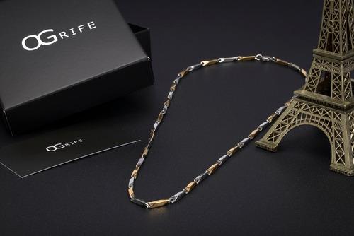 corrente cordão masculino aço ogrife j-07 banhado ouro top