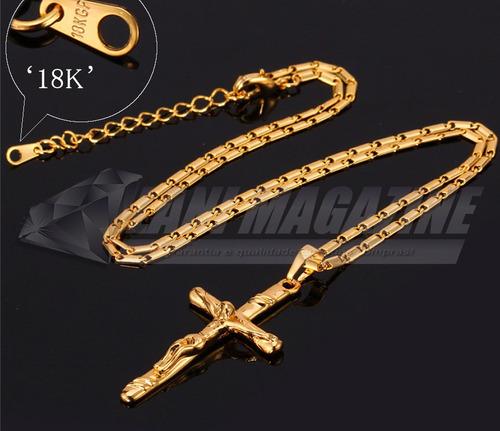 corrente cordão masculino c/ pingente crucifixo banhada ouro