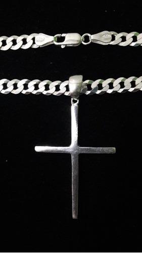 corrente cordão masculino com pingente crucifixo, prata 925