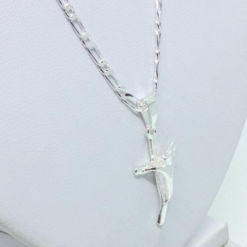 corrente cordão masculino prata 925+ pingente crucifixo 60cm