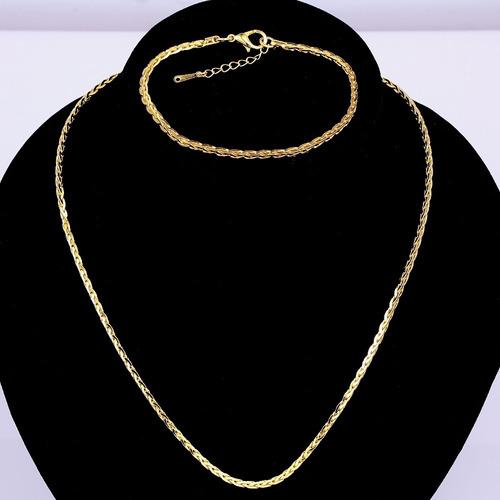 corrente cordão masculino + pulseira masculina banho ouro18k