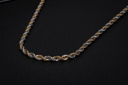 corrente cordão ogrife aço inox masculino j-06 banhado ouro