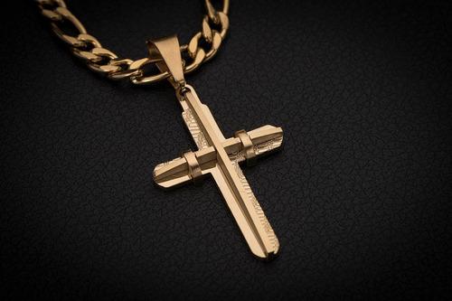 corrente cordão ogrife crucifixo j-101 aço banhado ouro 70cm