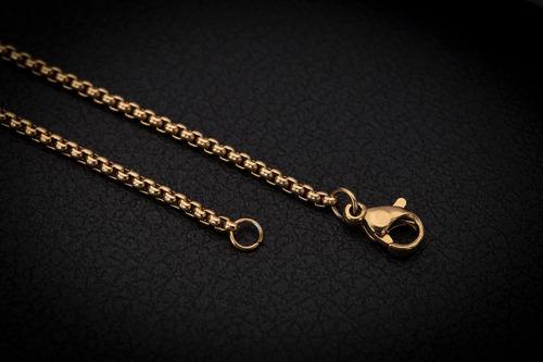 corrente cordão ogrife crucifixo j-112 aço banhado ouro 70cm