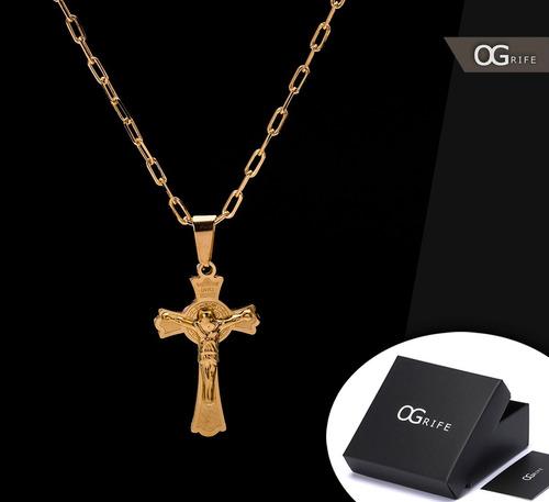 corrente cordão ogrife crucifixo j-117 aço banhado ouro 70cm