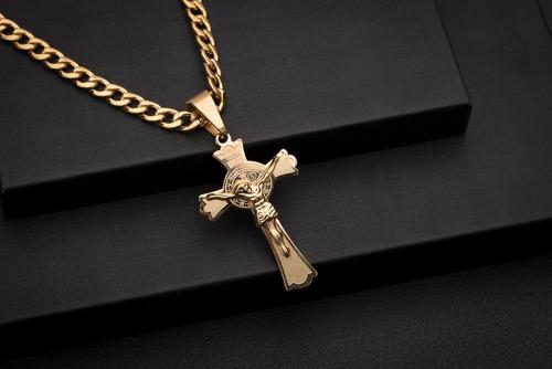 corrente cordão ogrife crucifixo j-81 aço banhado ouro 60cm