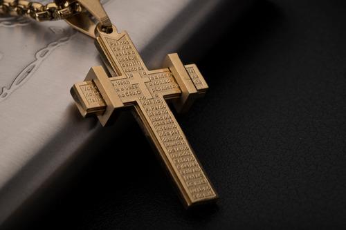 corrente cordão ogrife crucifixo j-99 aço banhado ouro 60cm