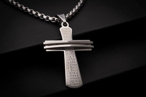 corrente cordão ogrife crucifixo masculino j-111 aço inox