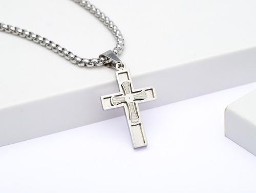 corrente cordão ogrife crucifixo masculino j-80 aço inox