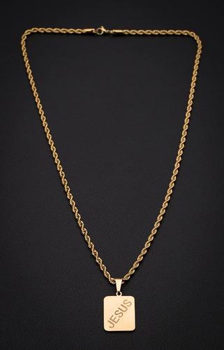 corrente cordão ogrife jesus j-92 aço inox banhado ouro 70cm