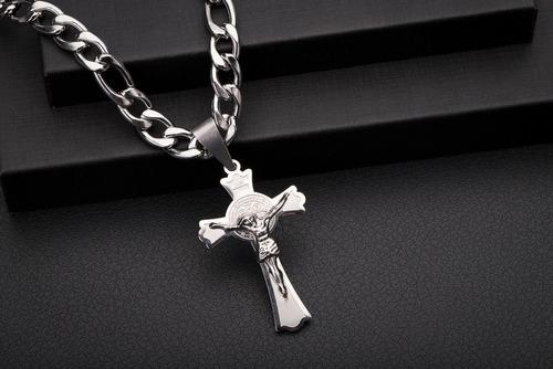 corrente cordão ogrife pingente crucifixo j-82 aço inox 70cm