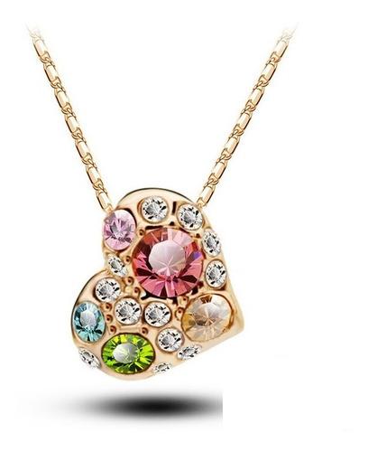 corrente cordão  ouro rose 18k -coraçao + cristais- promoçao